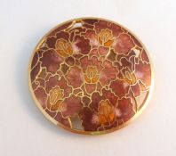 Large Cloisonne Enamel Red Iris Flower Brooch.